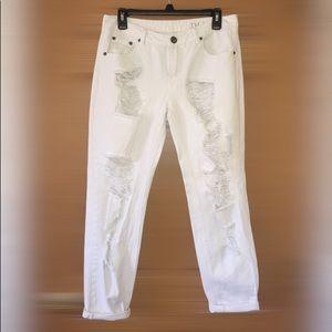 Cotton On Distressed White Boyfriend Jeans
